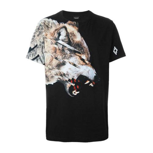 经典狼首印花男士纯棉短袖t恤,设计简约,版型舒适,剪裁得体