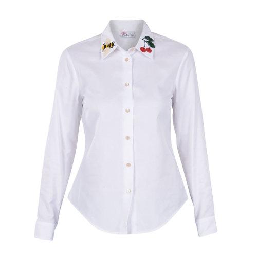 衣领设有樱桃与蜜蜂图案贴片女士纯棉长袖衬衫,修身版型设计彰显图片