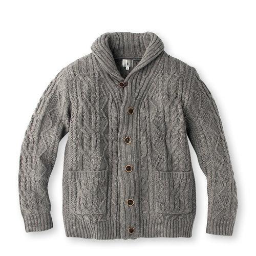 男士腈纶混纺针织花纹对襟毛衣17017106