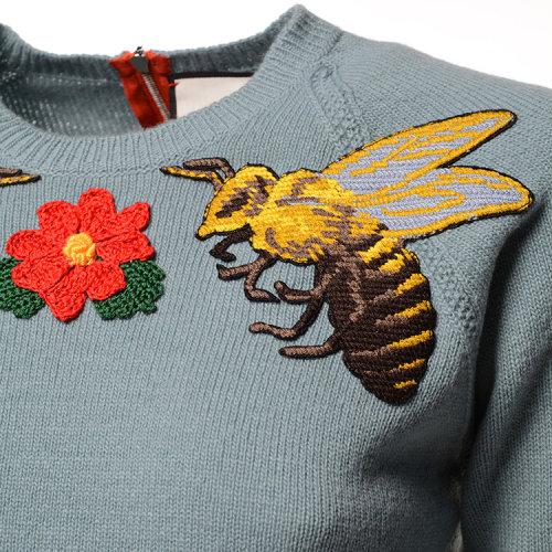 GUCCI 古驰 女士 花朵与蜜蜂图案刺绣 个性拉链 羊毛 针织衫 SP