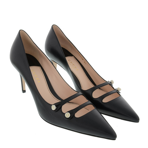 gucci/古馳 女士時尚扣子裝飾尖頭小牛皮高跟鞋 br圖片