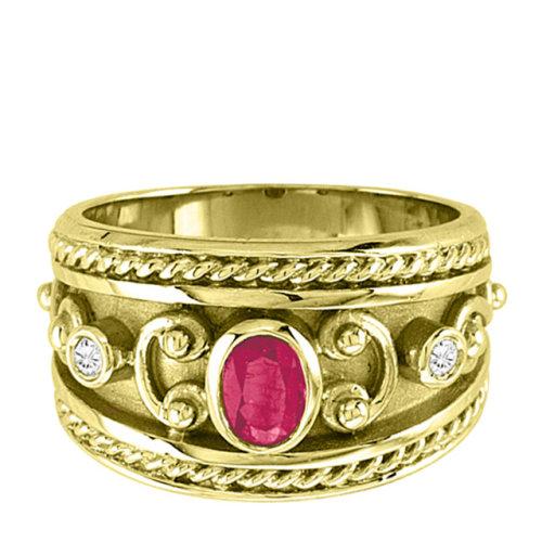 经典拜占庭风格女士14k黄金戒指,刻有复古花纹,戒指宽1.
