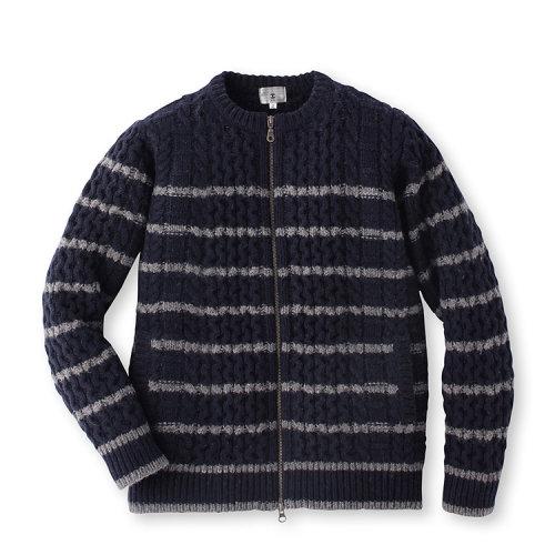 男士毛纺条纹针织花纹对襟毛衣17017131