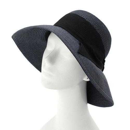 【grovegrove 帽子】grove 蝴蝶结丝带纤维编织女士宽