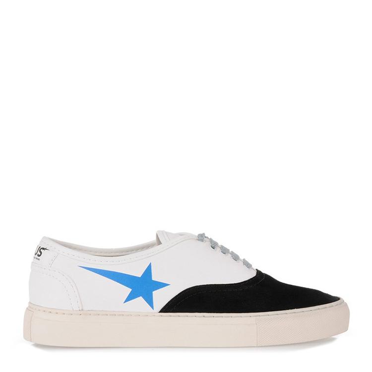 黑色和白色皮制系带运动鞋,蓝星logo印纹,橡胶鞋底.