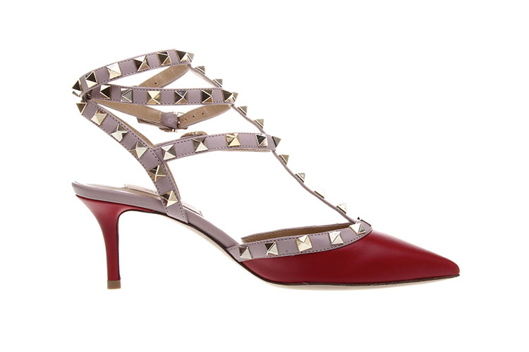 VALENTINO 华伦天奴 红色皮质铆钉款高跟鞋35