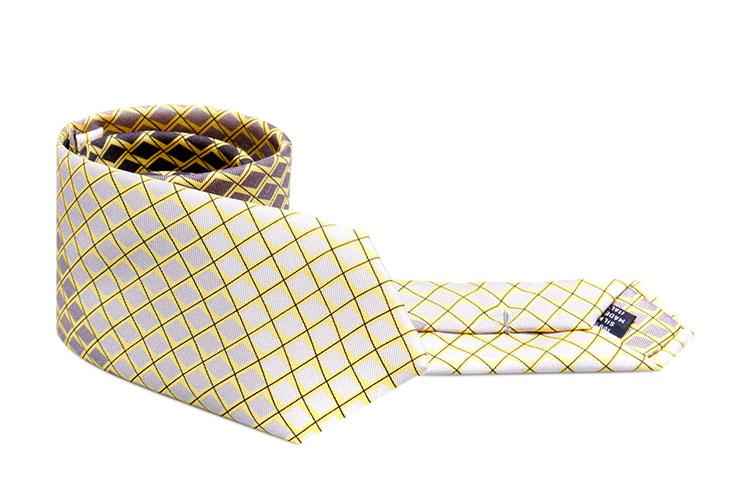 prada黄色菱形格纹领带