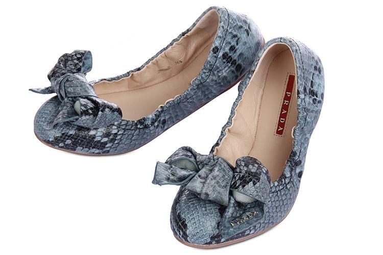 prada(普拉达) 蓝色蛇皮压纹平底鞋36.5#团购,|prada
