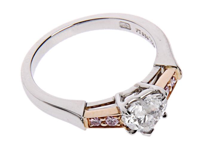 铂金/18k玫瑰金心形钻石戒指50