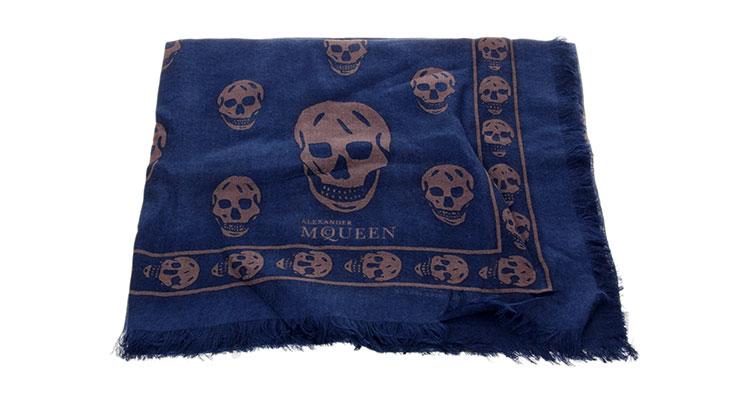 alexander mcqueen(亚历山大麦昆) 深蓝色骷髅图案围巾品牌折扣旗舰店