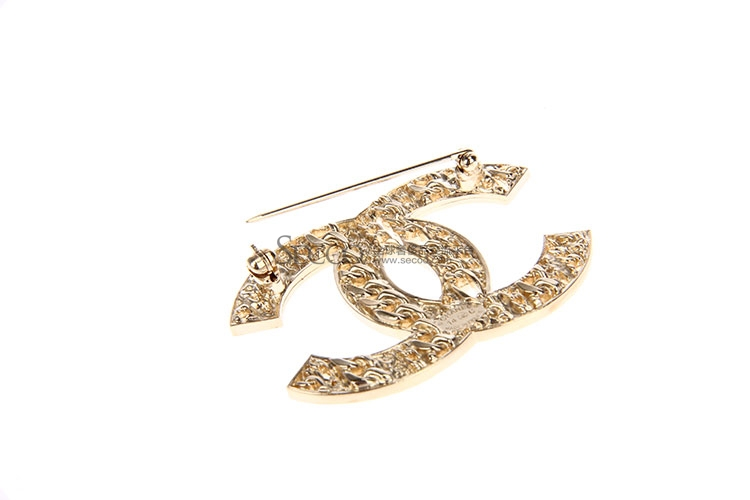 chanel(香奈儿) 金色双c链条图案胸针