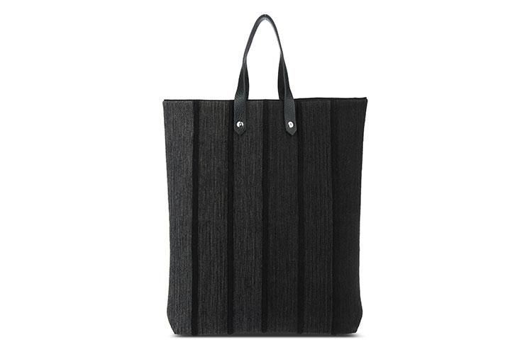 hermes(爱马仕) 深灰色帆布黑色毛呢竖条纹手提包