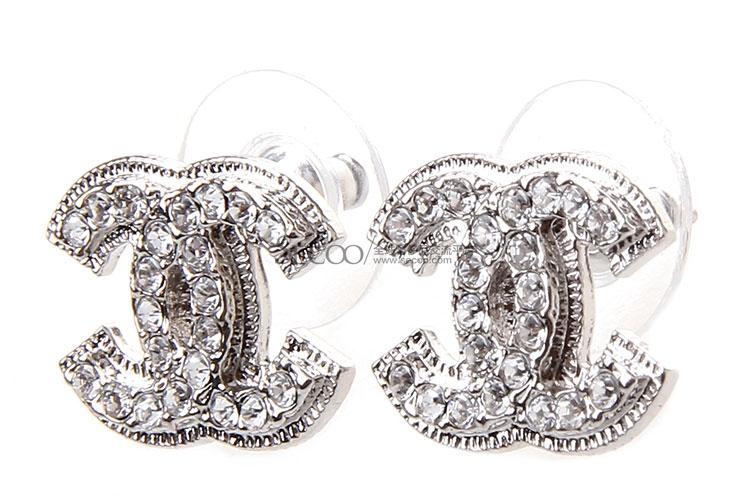 chanel(香奈儿) 银色双c水钻耳环