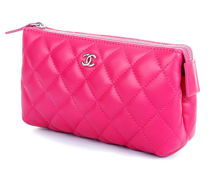 chanel(香奈儿) 桃粉色皮质化妆包