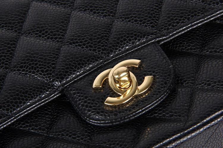chanel(香奈儿) 黑色荔枝皮金链单肩包