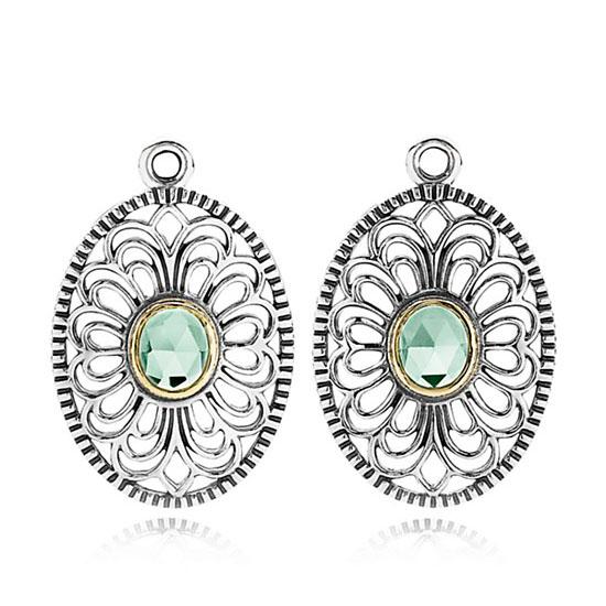(潘多拉)欧式复古花纹纯银镶嵌蓝水晶耳坠/耳环