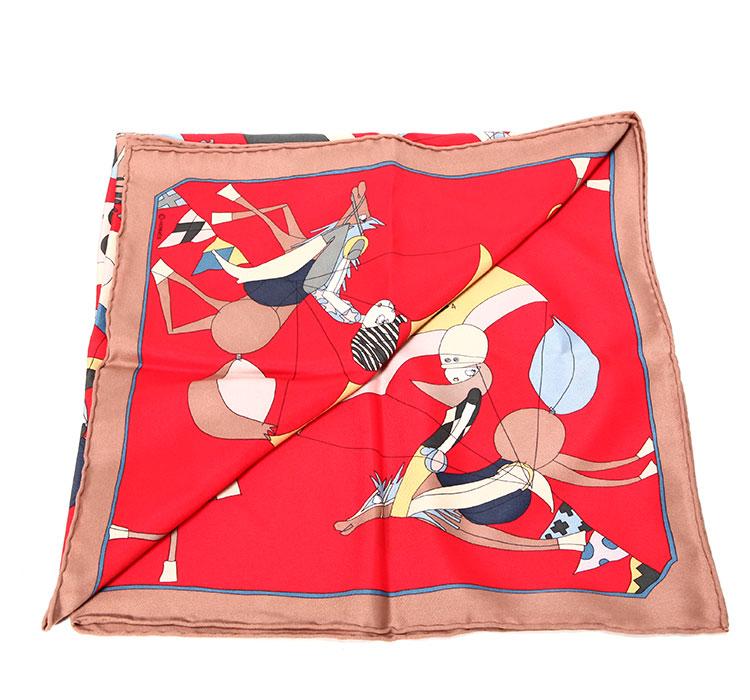 棕色边框红色底卡通图案丝巾70