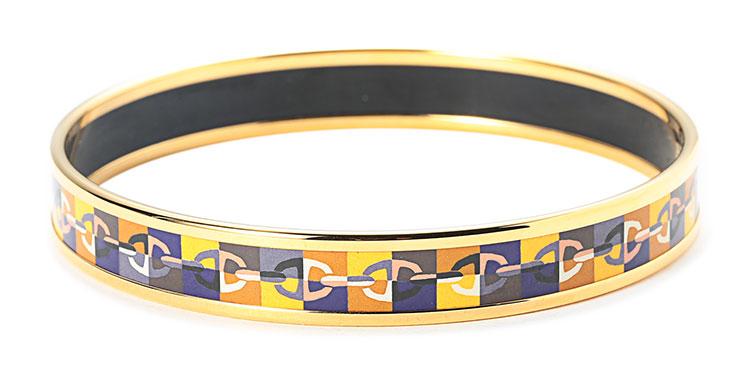 hermes(爱马仕) 金色边框彩色花纹珐琅手镯的明星产品