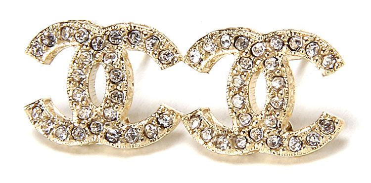 chanel(香奈儿) 金色弧形双c logo水钻耳钉