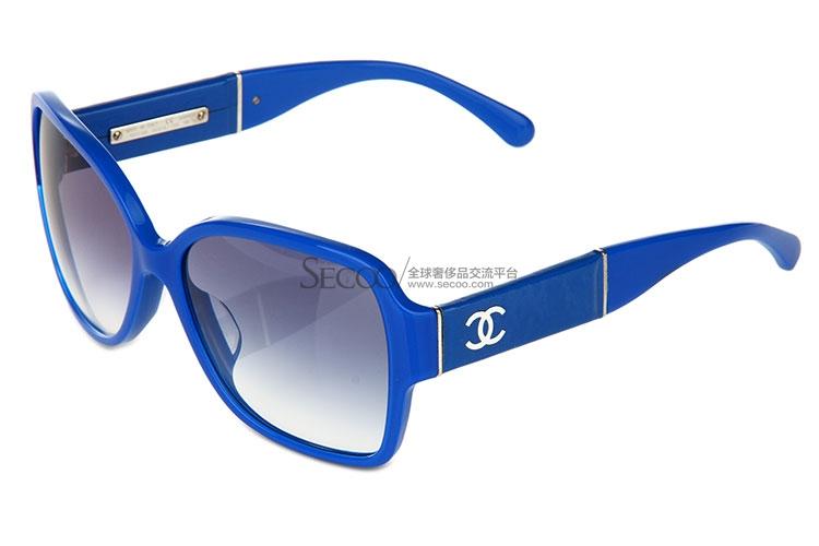 蓝色花纹板材眼镜框