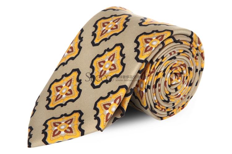 黄色花朵金色底图案领带