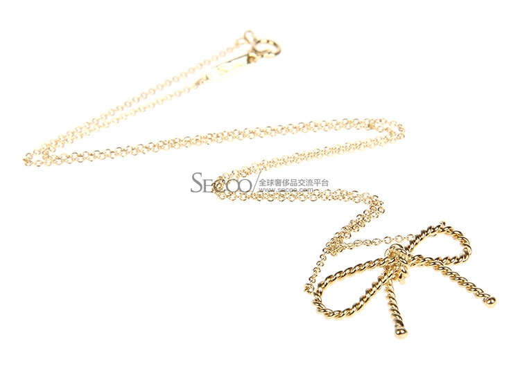 Tiffany Co. 蒂芙尼 18K黄金绞丝款蝴蝶结项链