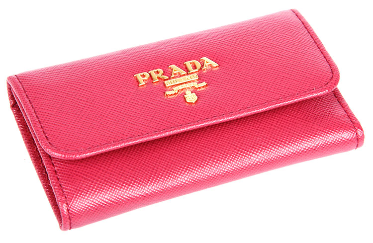 prada(普拉达) 枚红色皮质钥匙包