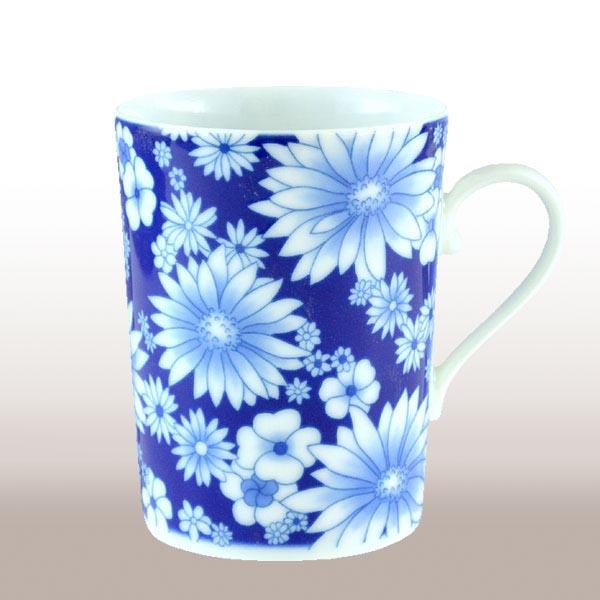 日本皇室御用香兰社 蓝色大丁草花纹陶瓷马克杯1324-hml