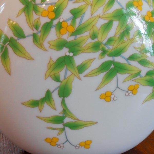 绿花纹球形白瓷花瓶684-nw5