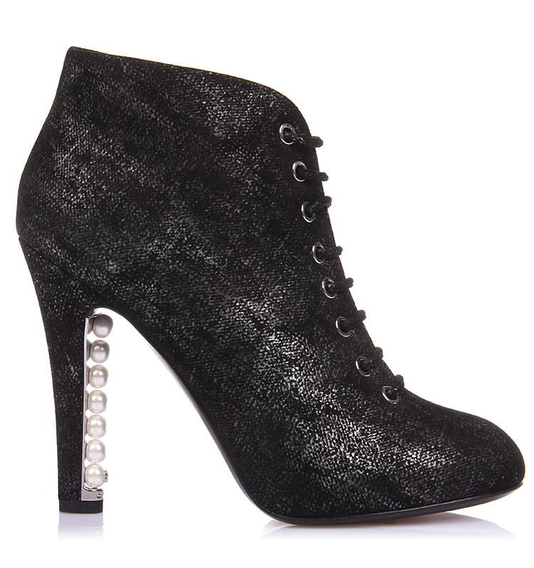 奈儿) 黑色花纹鞋