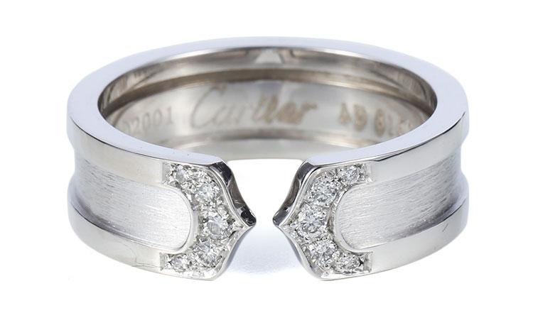cartier(卡地亚) 18k白金双c窄版镶钻戒指54图片