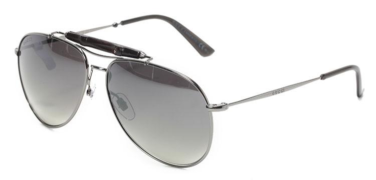 【gucci古驰 眼镜】gucci(古驰) 银色边框黑色镜片镜