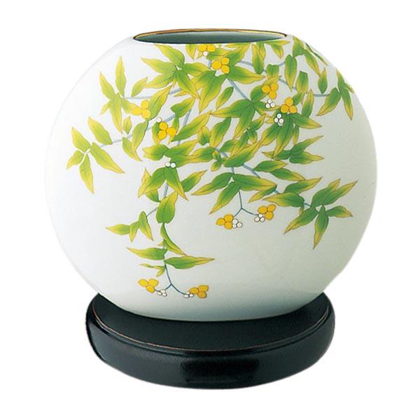 日本皇室御用香兰社 绿花纹球形白瓷花瓶684-nw5