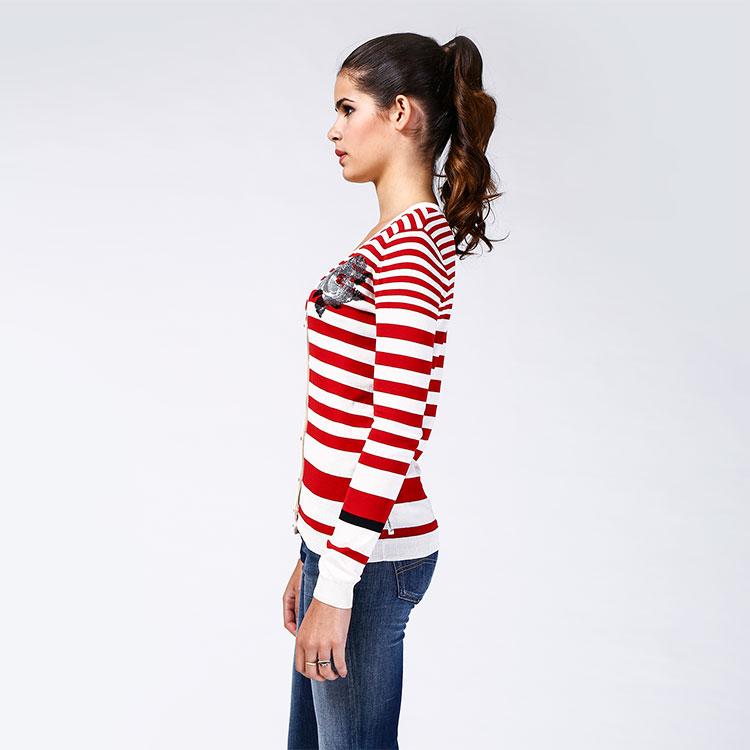 armani jeans红白条纹纯棉女士长袖毛衣