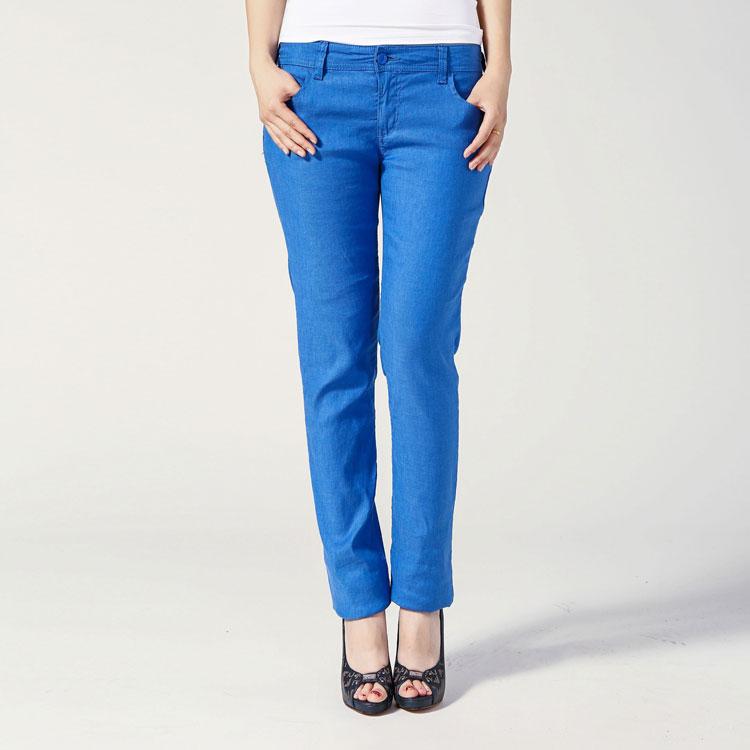 Armani Jeans蓝色亚麻女士女士裤子