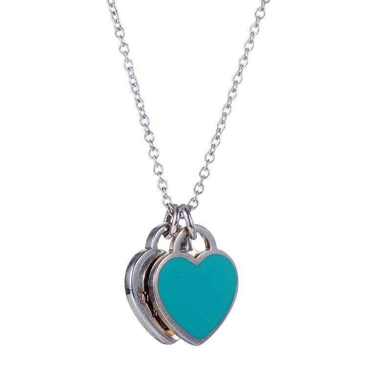 Tiffany Co. 蒂芙尼 Ag925纯银蓝色双心珐琅项链