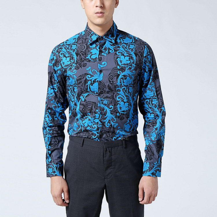 jeans蓝色花纹棉质男士衬衫