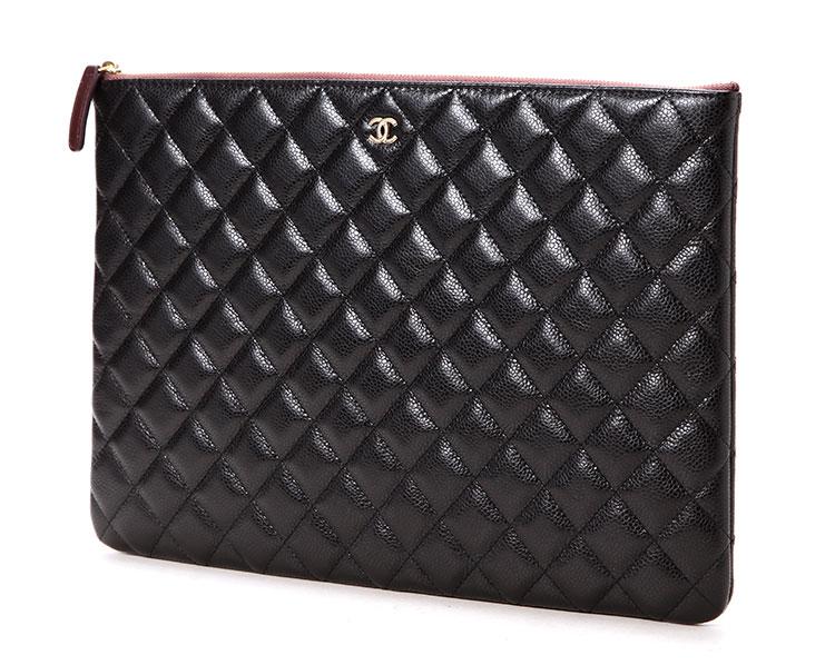chanel(香奈儿) 黑色皮质拉链手包