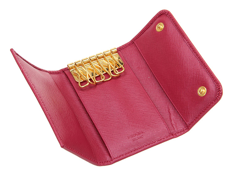 【PRADA普拉达 小型皮具】PRADA(普拉达) 桃红色皮质钥匙包【正品 价格 图片】 - 寺库网