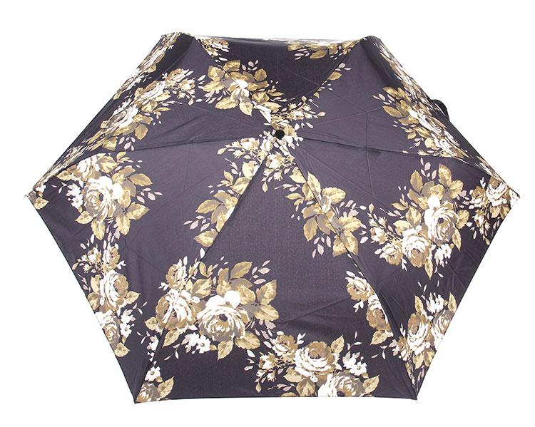 黑色草绿牡丹花图案晴雨伞superslim