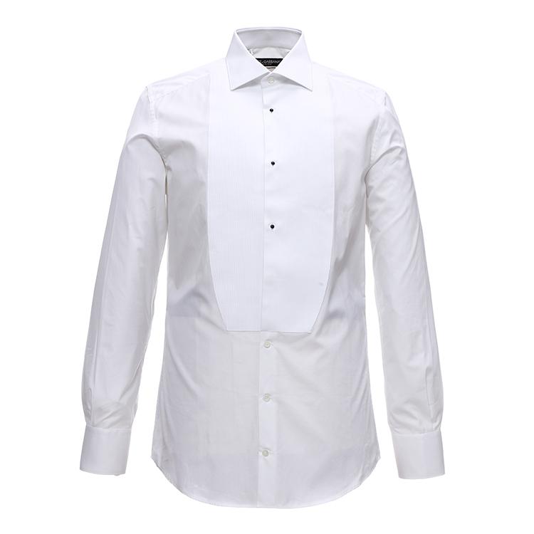 dolce&gabbana男士条纹纹理白色gold修身款礼服衬衫