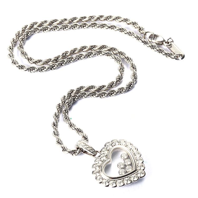 chopard(萧邦) 18k白金心形钻石吊坠项链团购,|chopard(萧邦) 18k白金