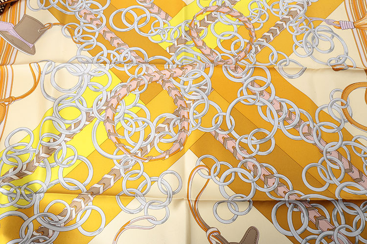 黄色边框挂饰图案丝巾90#】价格