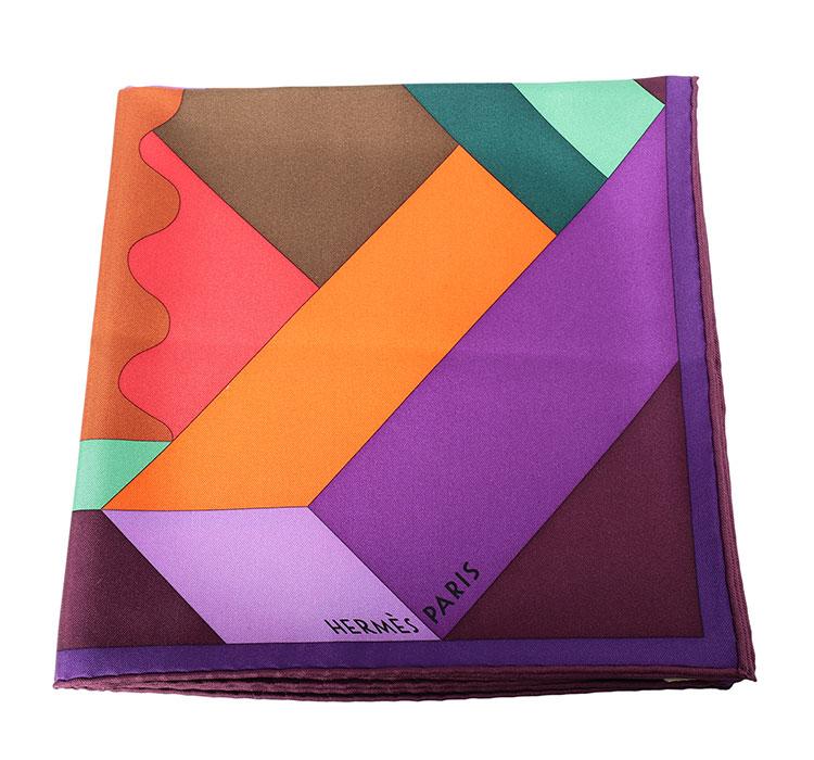 hermes(爱马仕) 紫色边框几何图案丝巾90