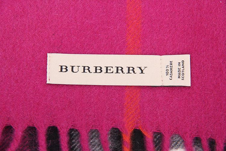 burberry(博柏利) 紫粉色格子羊绒围巾