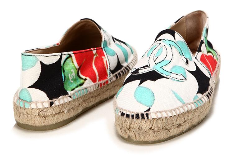 chanel(香奈儿) 印花图案帆布渔夫鞋38