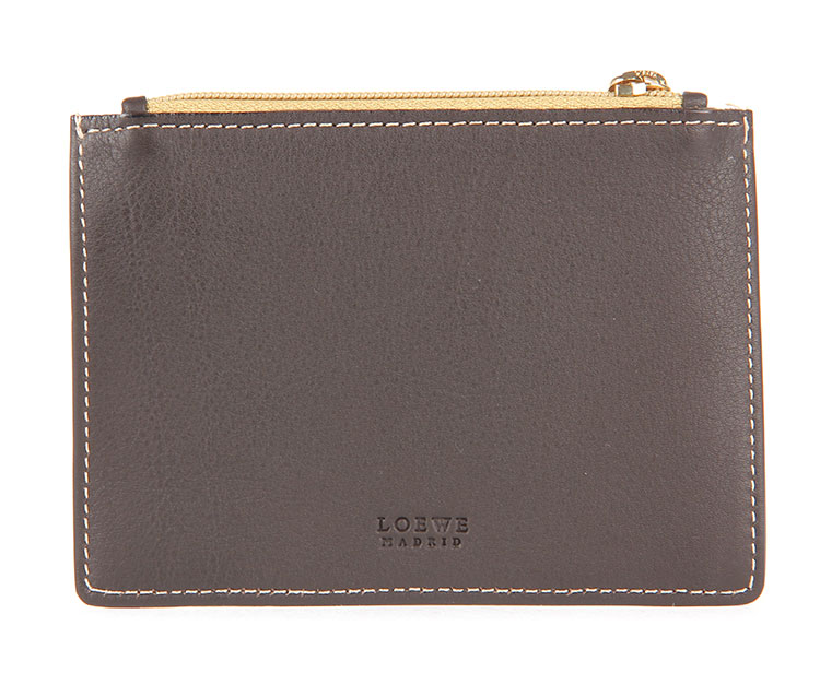 loewe(罗意威) 深棕/暗黄色皮质小零钱包