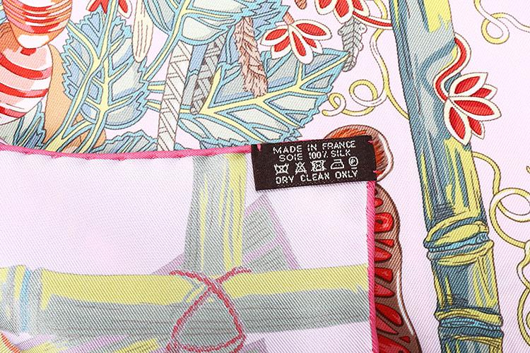 hermes(爱马仕) 浅粉色底丛林动物图案印花丝巾 90
