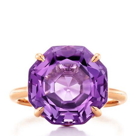 tiffany & co.(蒂芙尼)18k金电光环紫水晶戒指 6号grp07179图片