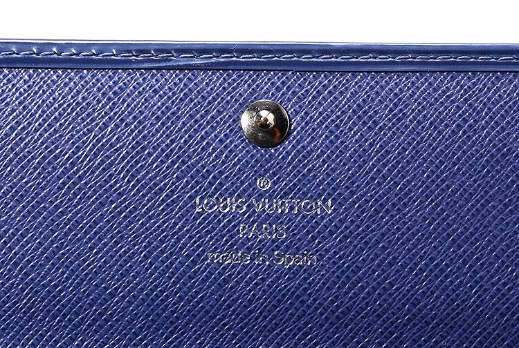 #蓝色水木纹长款按扣钱夹
